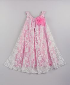 Look at this Mia Belle Baby White Pink Lace Overlay Swing Dress - Toddler Girls on #zulily today!
