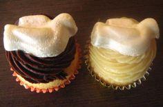 Mini cupcake de pombinha para batizado!