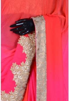 Blended Saree With Readymade Blouse-Shaded Orange & Pink-WH1514