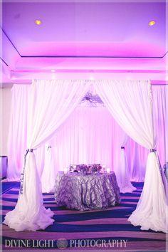 "Sweetheart table ""cabana"". around the dance floor"