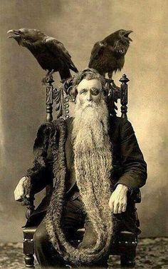 Bearded Man Odin with Long Longest Beard Unusual Vintage Norse Mythology Photography Reprint Reprinted Victorian Edwardian Sepia or Black and White Long Beards, Grey Beards, Vintage Photographs, Vintage Witch Photos, Vintage Halloween Photos, Vintage Images, Old Photos, Crow Photos, Illustrations
