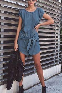 Blue Knot at Front Casual Denim Mini Dress