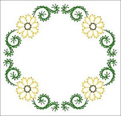 Floral Swirl Wreath Frame All Occasion Paper Embroidery Pattern for Greeting Cards