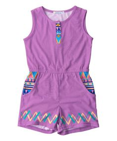 Lavender & Blue Geometric Pocket Romper - Toddler & Girls