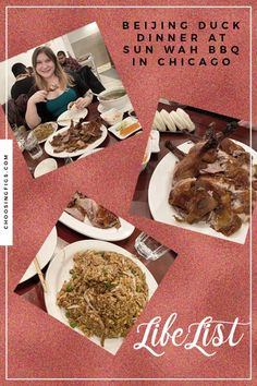 The Beijing Duck Dinner at Sun Wah BBQ in Chicago is a three-course duck feast featuringa whole roasted duck carved tableside, fried rice, and soup. Duck Soup, Roast Duck, Sushi Restaurants, Chicago Travel, Life List, Birthday Weekend, Hoisin Sauce, Bao, Figs