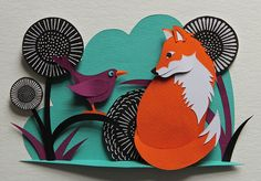 Tell'in Tales fox and bird paper cut art   by Helen Musselwhite