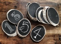 Wood rustic blackboard for name or number table.