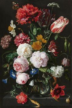 Fotobehang Stilleven met bloemen in een glazen vaas - De Heem Rijksmuseum