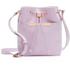 Ted Baker Ersilda Crosshatch Mini Bucket Bag (28770 RSD) ❤ liked on Polyvore featuring bags, handbags, shoulder bags, lilac, ted baker handbags, pink purse, pink shoulder bag, mini shoulder bag and miniature purse