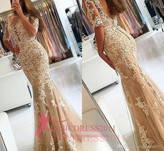 Elegant Champagne Prom Evening Dresses with Half Sleeves 2016 Mermaid Sheer Illusion Heavly Embellished Backless Formal Party Gowns Arabic Plus Size Prom Evening Beaded Evening Gowns Sexy Luxury Formal Gowns Online with 156.0/Piece on Magicdress2011's Store | DHgate.com