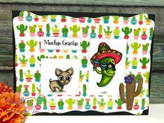 Craftin Desert Divas - Fiesta Time stamp, Doodlebug Cute Cactus Washi Tape, Picture Frame dies