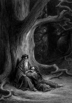 nigra-lux:  DORÉ, Gustave (1832-1883)Vivien and Merlin (Illustration for Lord Alfred Tennyson's Idylls of the King), detail1868engravingEd. Orig. Lic. Ed.