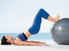 Bridge Rollout  A Lie face-up with knees bent at 90 degrees and feet on a stability ball, heels together and toes turned out; extend arms at sides, palms on the ground.  B Slowly lift hips, then straighten legs. Reverse motion (bend knees, then lower hips) to return to starting position and repeat.