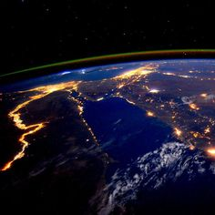 The #Nile at night is a beautiful sight for these sore eyes by Astronaut Scott Kelly from the International Space Station