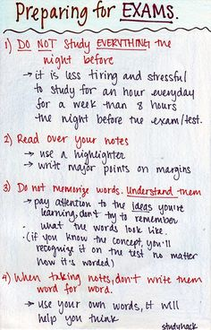 Some tips on studying for exams! Reviewing, taking notes and memorization