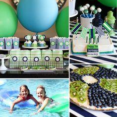 Kids Birthday Pool Party - Love the fruit beach ball idea