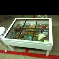 Old window = shadow box table