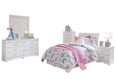 Ashley Anarasia 5PC Twin Sleigh Headboard Bedroom Set With Chest In White * Click image to review more details. (This is an affiliate link) #AshleyFurniture