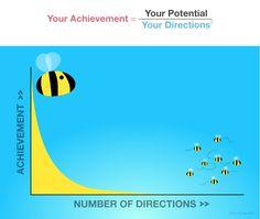 Achievement = Potential / Directions squared