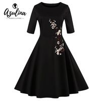 AZULINA Vintage Embroidery A Line Women Dress 2017 Spring Summer Casual Floral Flower Female Retro Robe Vestido 4XL Plus Size