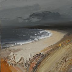 The Beach that Glows - Scottish West Coast Landscape Oil on canvas Painting by contemporary Scottish Artist Chris Bushe RSW at Panter and Hall Gallery, London Contemporary Landscape, Landscape Art, Landscape Paintings, Art For Art Sake, Seascape Paintings, Beach Art, Painting Techniques, Painting Inspiration, Abstract Art