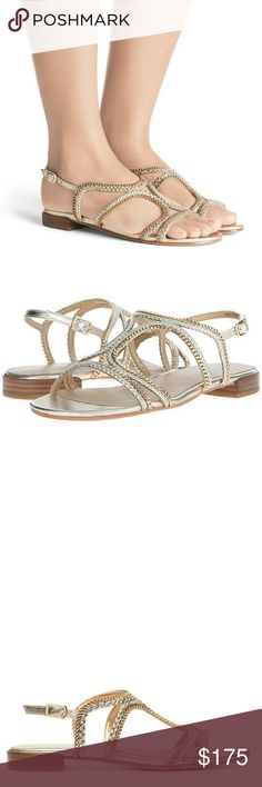 NEW Stuart Weitzman Samoa Sandals Chain-link detailing lends street-chic edge to a breezy sandal styled with slim, curvy braided straps.  Adjustable ankle strap with buckle closure.Leather upper, lining and sole. These sandals are brand new and have never been worn. Stuart Weitzman Shoes Sandals