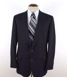 Bill Blass Macy's California Blazer Sport Coat 40L Navy Blue Striped 100% Wool #BillBlass #TwoButton