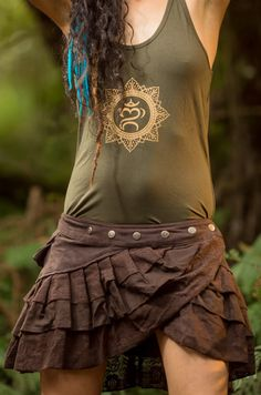 Lily Layer Skirt Brown Handmade Gypsy Goa by AryaClothing on Etsy
