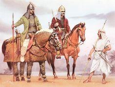 Clibanarius from Ahwaz, mid-3rd C. AD; Lakhmid élite cavalryman, 6th C. AD; Tanukhid auxiliary, 4th C. AD