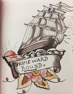Homeward bound tattoo - notice how the sails lean to the right to home. Sailor Tattoos, Instagram Feed, Guitar, Guitars