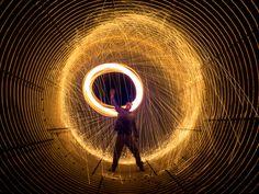 A steel wool spin in the Nines Creek culvert under the Alaska Highway by Wroot Down.  #Photo #lightpainting