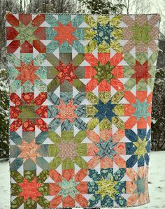 This is a beautiful and simple patchwork quilt with blocks sewn into prints in which they turn into a dazzling quilt. The design is beautifu...