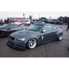 BMW m3 grey widebody slammed 3 series brushed wheels