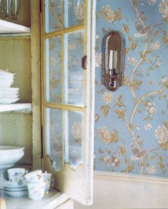 """English Cottage Love: old Laura Ashley wallpaper """"Chinese Silk"""" in powder blue"""