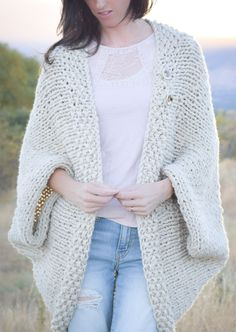 Free Knitting Easy Blanket Sweater - Jessica from Mama in a Stitch created this cocoon cardigan that she calls a wearable blanket. Quick knit with two strands of chunky yarn held together.