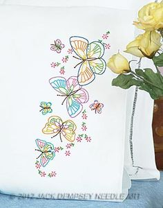 JDNA - Fluttering Butterflies Perle Edge Pillowcases #Embroiderybyhand #JDNA #embroidery