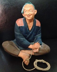 Antique Japanese Hakata Urasaki Doll Figurine Asian Old Man Rope | eBay