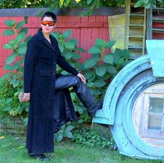 70s Black Suede Full Length Leather Trench Coat by RenegadeRevival    Mine is in leather.  Ebay $40