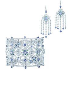 Tiffany mosaic tanzanite, Tsavorite and diamond Tiffany platinum bracelet and earrings