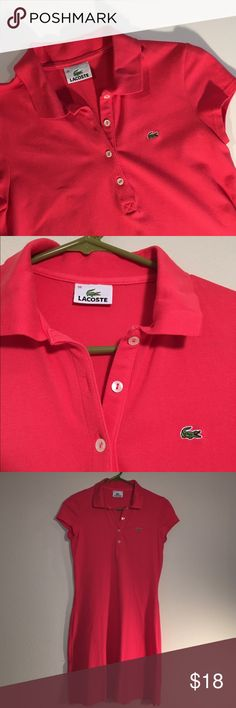 Lacoste Dress Short Sleeve Polo ✔️Polo Short Sleeve Shirt Dress ✔️Pink-Raspberry Color ✔️European Size 38 ✔️Will fit size 4-6 ✔️No Holes, Stains or Damages Lacoste Dresses