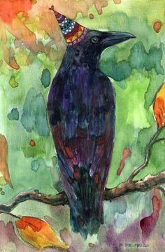 """""""Crow Celebrates Fall"""" by Belinda Del Pesco Watercolor Bird, Watercolor Animals, Watercolor Paintings, Watercolors, Barn Paintings, American Crow, Crow Art, Crows Ravens, Bird Artwork"""