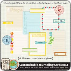 Journaling cards coordinates with Clementine project life