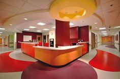 Children's Healthcare of Atlanta - love the bright interior colors Flooring Hospital Architecture, Healthcare Architecture, Healthcare Design, Dental Design, Medical Office Design, Clinic Design, Interior Decorating, Interior Design, Interior Colors