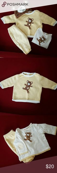 Gymboree 4 piece outfit - 3 to 6 months Adorable yellow, off white and brown teddy bear sweater, hat and shirt with matching pants.  All pieces are in like new condition.  Comes from a non-smoking home. Gymboree Matching Sets