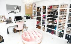 The Coveteur - Ashley Tisdale - Incredible closet with white walls, white floors with gold inlay detail and velvet pink tufted ottoman and pink velvet chair. Wall to wall shoe storage, crystal chandelier and black and white photography Dream Closets, Dream Rooms, Dream Bedroom, Big Closets, Open Closets, Shoe Room, Closet Bedroom, Shoe Wall, Bedroom Chair
