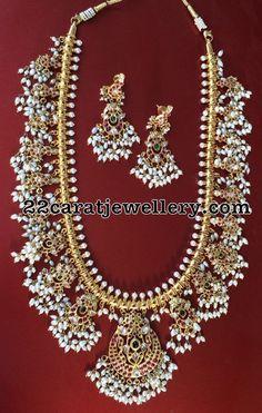Silver Guttapusalu Long Haram Earrings - Jewellery Designs