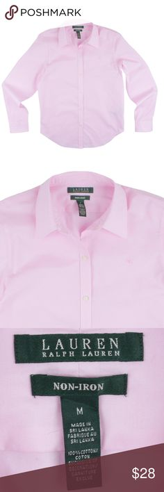 """RALPH LAUREN Pink Non Iron Button Down Shirt Size - M  This pink non-iron cotton shirt from LAUREN RALPH LAUREN is in excellent condition. It features button closures and LRL embroidered logo at the bust.  Measures:      Bust: 39""""     Total Length: 26""""     Sleeves: 24"""" Lauren Ralph Lauren Tops Button Down Shirts"""