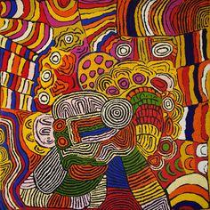 "ABORIGINAL ART PAINTING by MAISIE CAMPBELL NAPALTJARRI ""WOMEN's CEREMONY"" 146 x 145 cm"