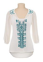 Embroidered high-low peasant top - maurices.com
