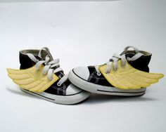 Superhero shoes. Got to do this for Pickle! But must remember to explain that it does not mean he can fly. O.o